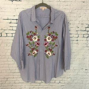 Gibson & Latimer Womens XL embroidered Top